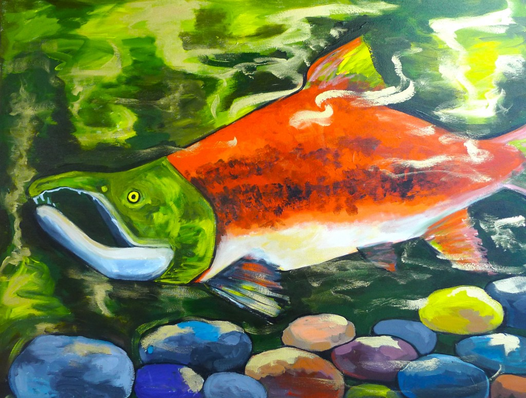 Salmon art at Great Harvest